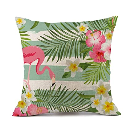Tcoome Flowers Pillow Decorative Pillow Covers Flamingo with Palm Leaf and  Flower Throw Pillow Cases Cotton f18b7a043