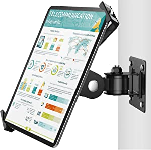 AboveTEK Tablet Wall Mount - Fits 7 to 11 Inch Tablets Including iPad, Galaxy Tab, Slate, Fire and More -Anti Theft Security Lock and Key - Articulating Swivel Holder for Portrait and Landscape Mode