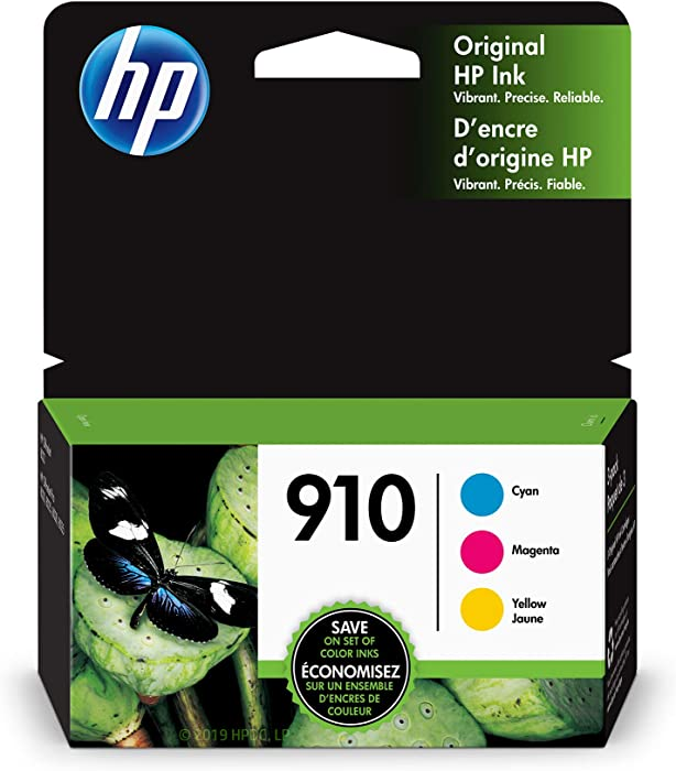 HP 910 | 3 Ink Cartridges | Cyan, Magenta, Yellow | 3YL58AN, 3YL59AN, 3YL60AN