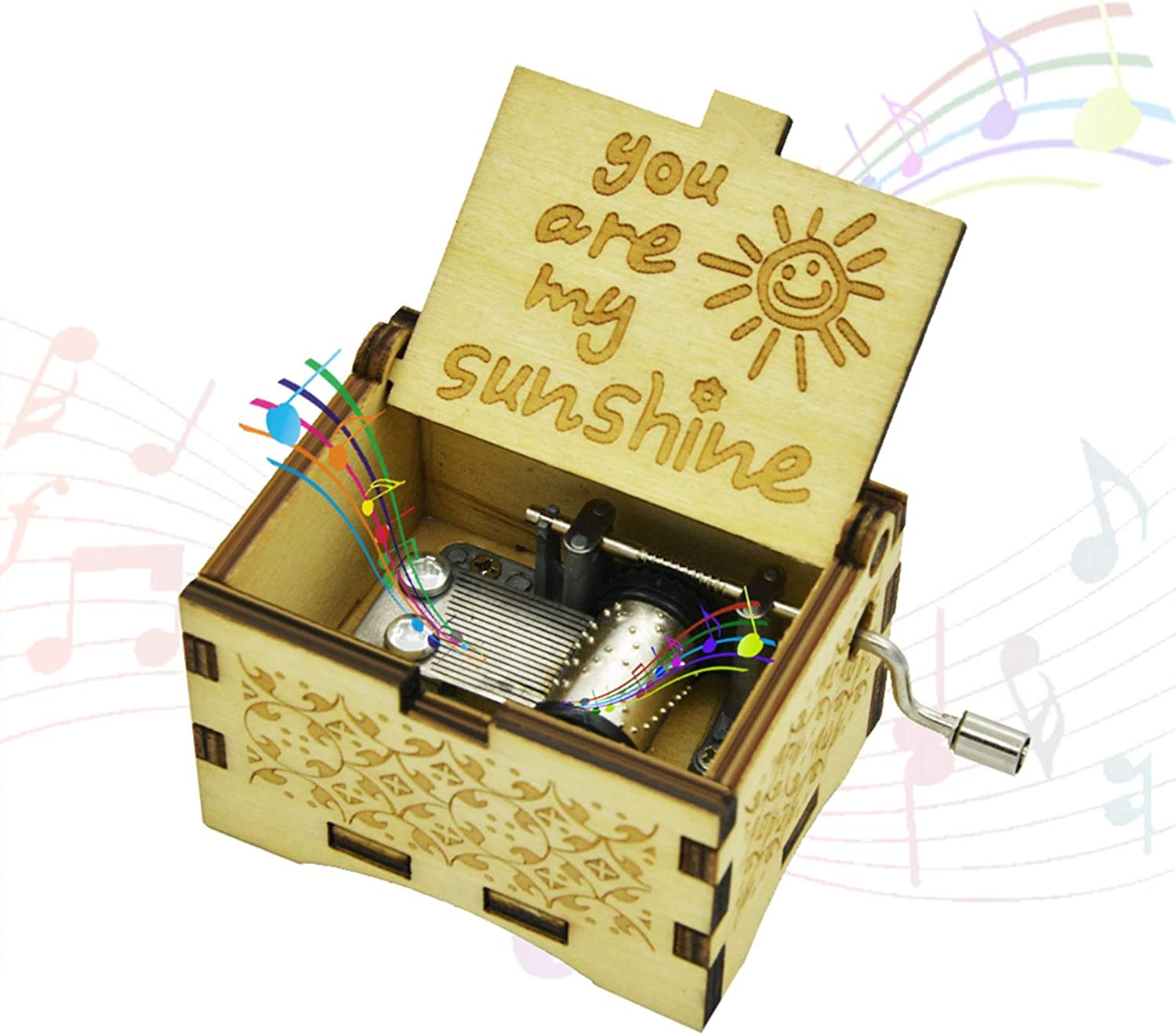 Randon You are My Sunshine Wooden Music Box Vintage Classic Hand Crank Carved Mini Musical Box Gifts Birthday Christmas Valentine's Day Hand-Operated Toys for Boys Girls (Wood-You are My Sunshine)