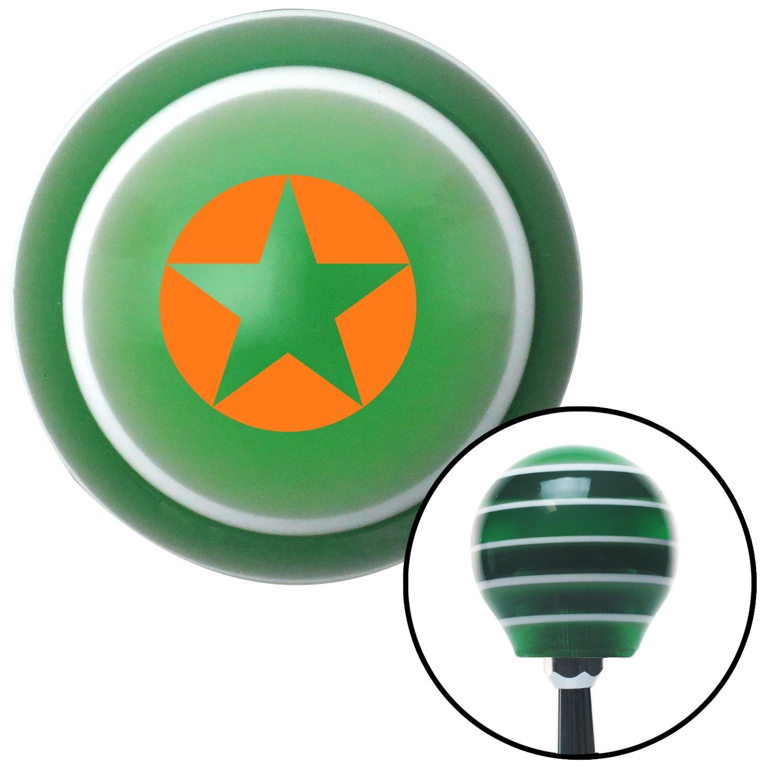Orange Star in Circle Outline American Shifter 128368 Green Stripe Shift Knob with M16 x 1.5 Insert