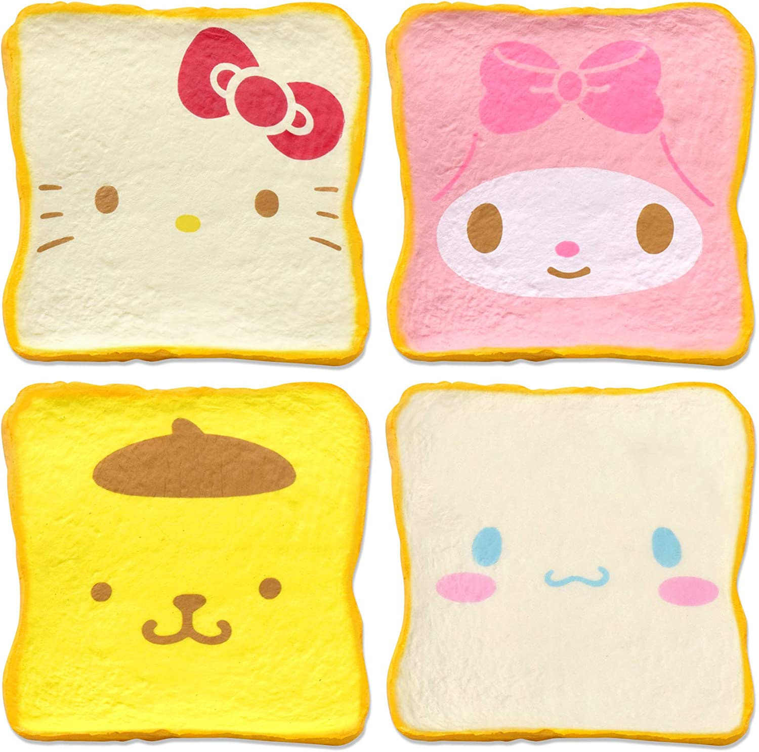 Hamee Sanrio Aromatic Milk Toast Bread Slow Rising Squishy Toy (All 4 Piece Set) for Party Favors, Stress Balls, Birthday Gifts, Prop Decoration, Kawaii Squishies for Kids, Girls, Boys, Adults