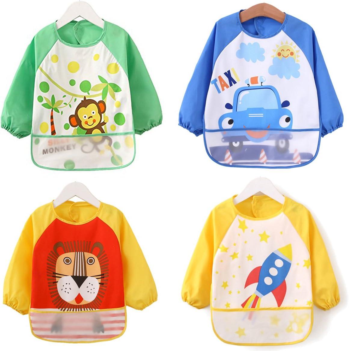 ElecMotive Pack de 4 Impermeable Baberos del Bebé PEVA de Manga Larga Para Bebé Niños Niñas 1 - 4 Años