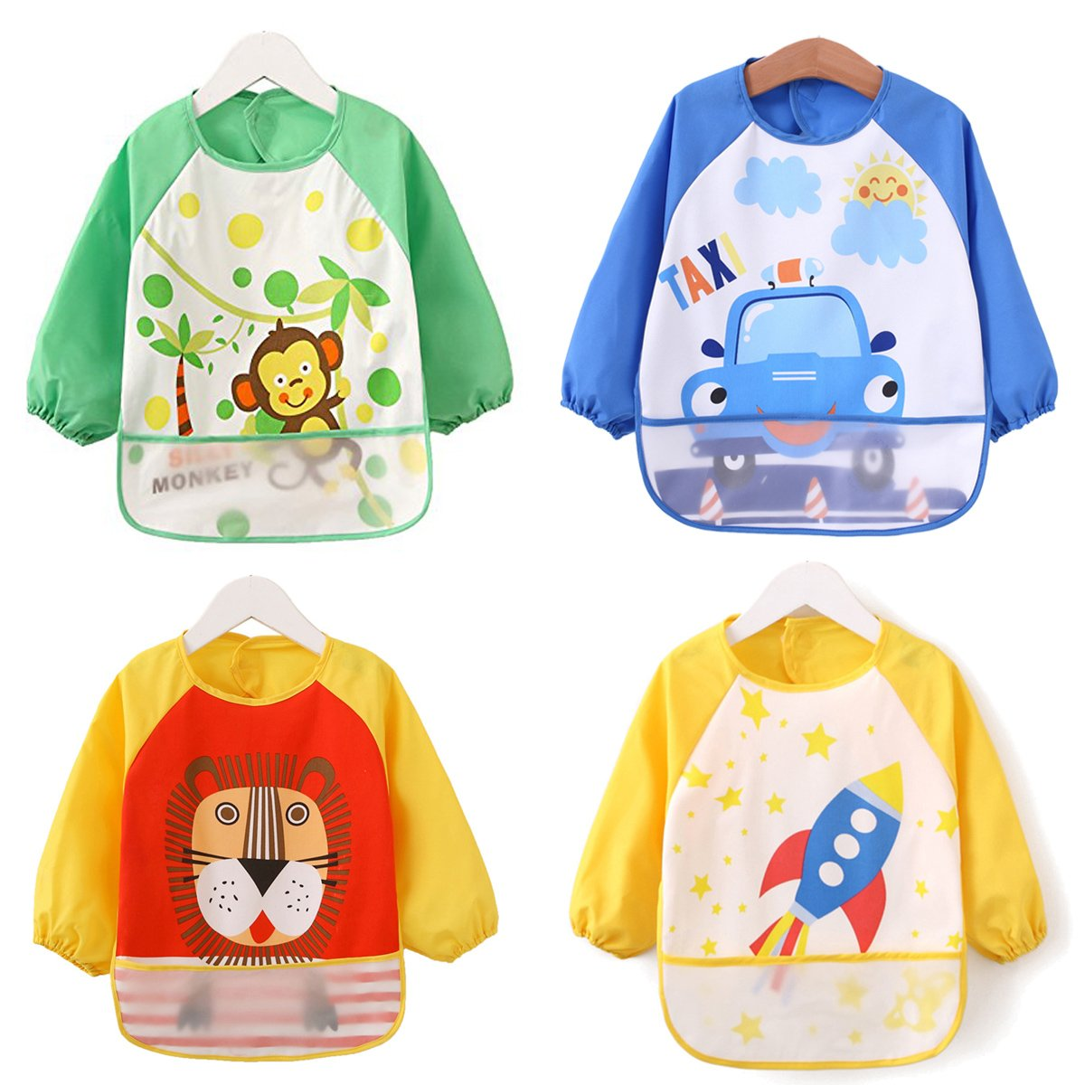 ElecMotive 4pcs Baby Kids Waterproof Feeding Bibs Long Sleeve Art Apron Smock Sleeved Bib 9 Months - 4 Years