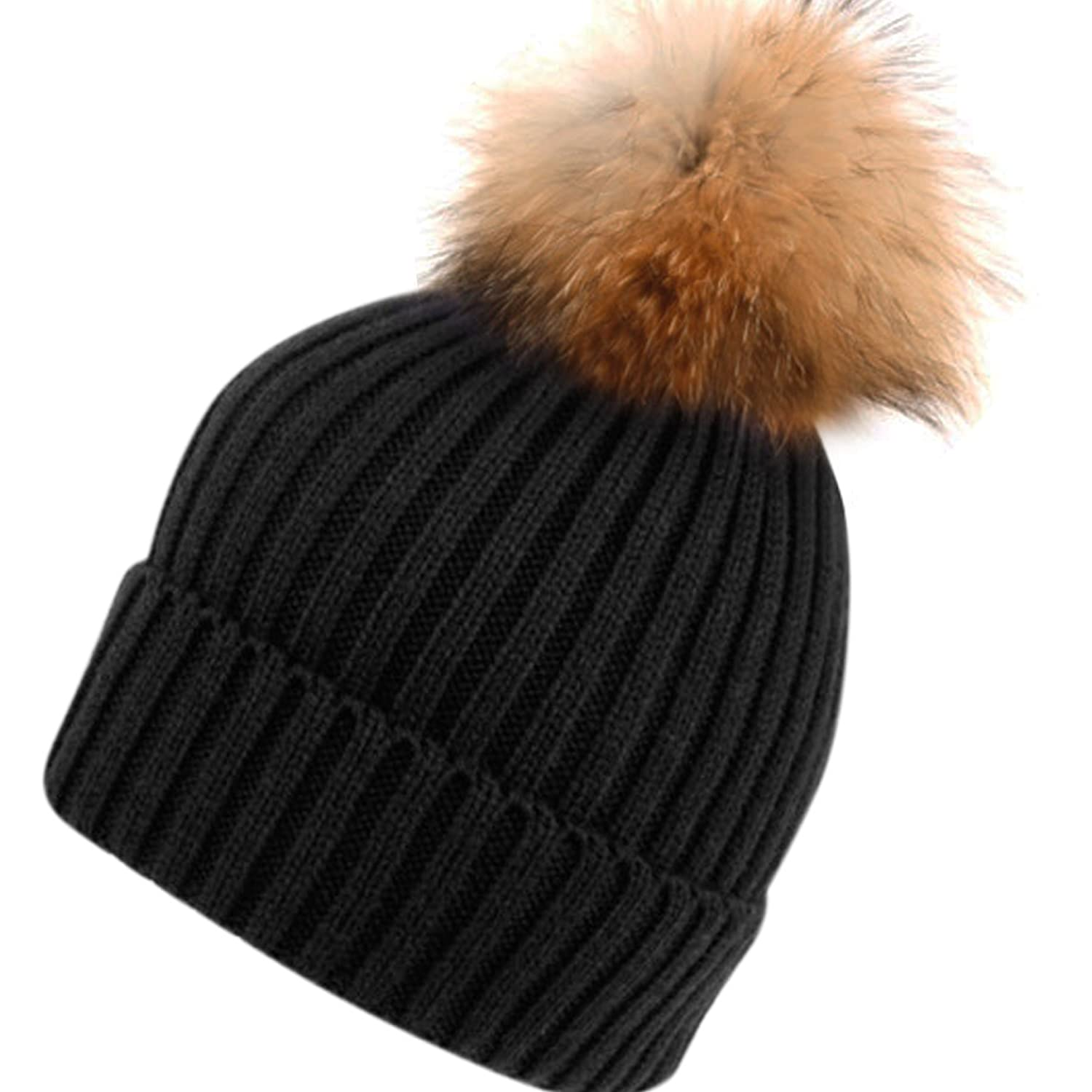 Lovely Womens Girls Knitted Fur Hat Real Large Raccoon Fur Pom Pom Beanie  BQ27