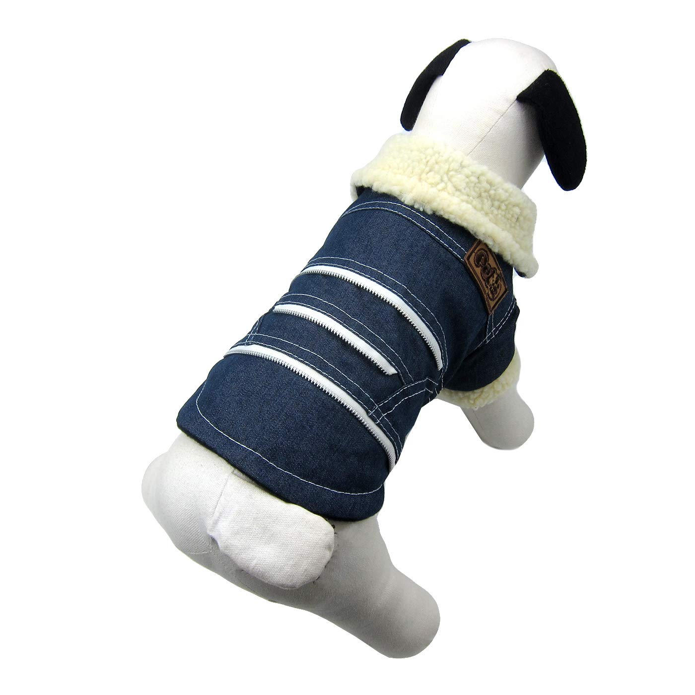 Navy Large Navy Large Alfie Pet Lincoln Fleece-Lined Winter Coat color  Navy, Size  Large