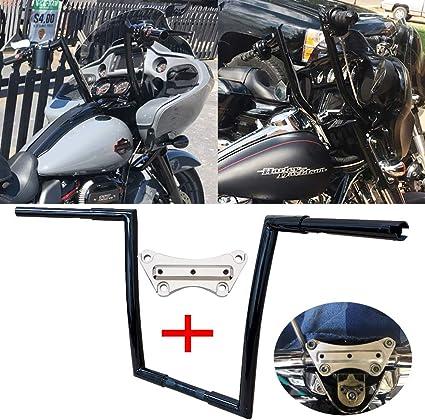 BBUT 12 14 16 Rise 1 1//4 APE Hanger Handlebar Handle Bar For 1996-2018 Harley Dyna Softail Sportster XL 1983-2014 Touring Road King Street Glide Electra Glide FLHR FLHX FLHT FHTR 14 Black
