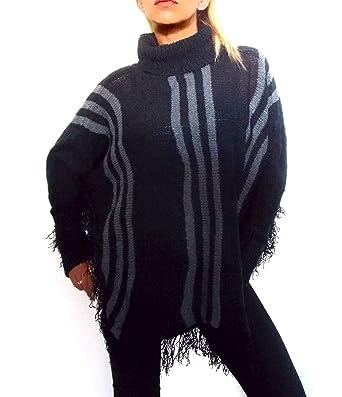 Damen Strick Cape Poncho Pulli Rolli Rollkragen in schwarz