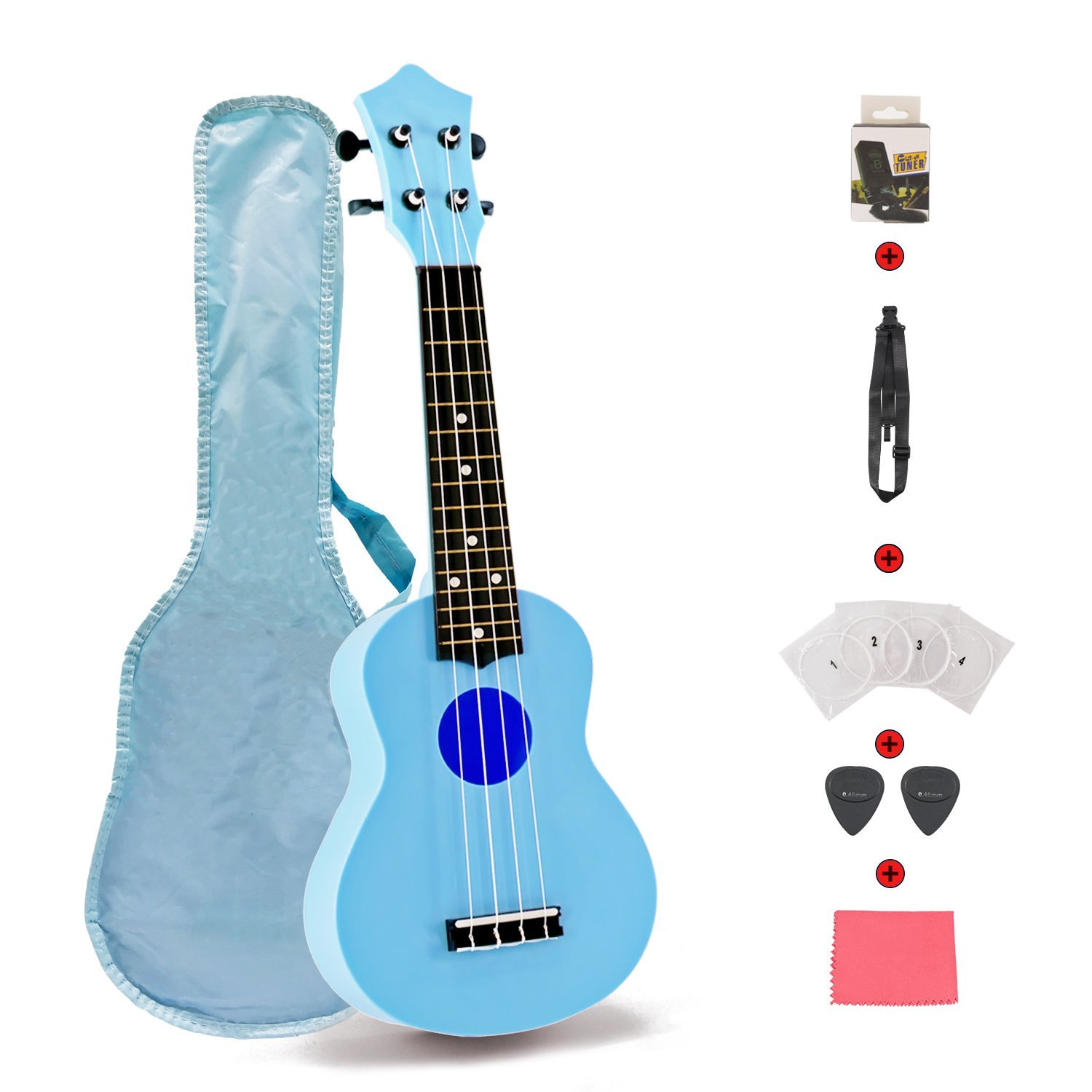 Toy Ukulele 21 inch Plastic Guitar with Strap Nylon String Tuner Guitar Picks Ukulele Strings Bag Cleaning Cloth for Toddler Kids Children Ukulele Learner Beginner Gift Macarons Color Blue
