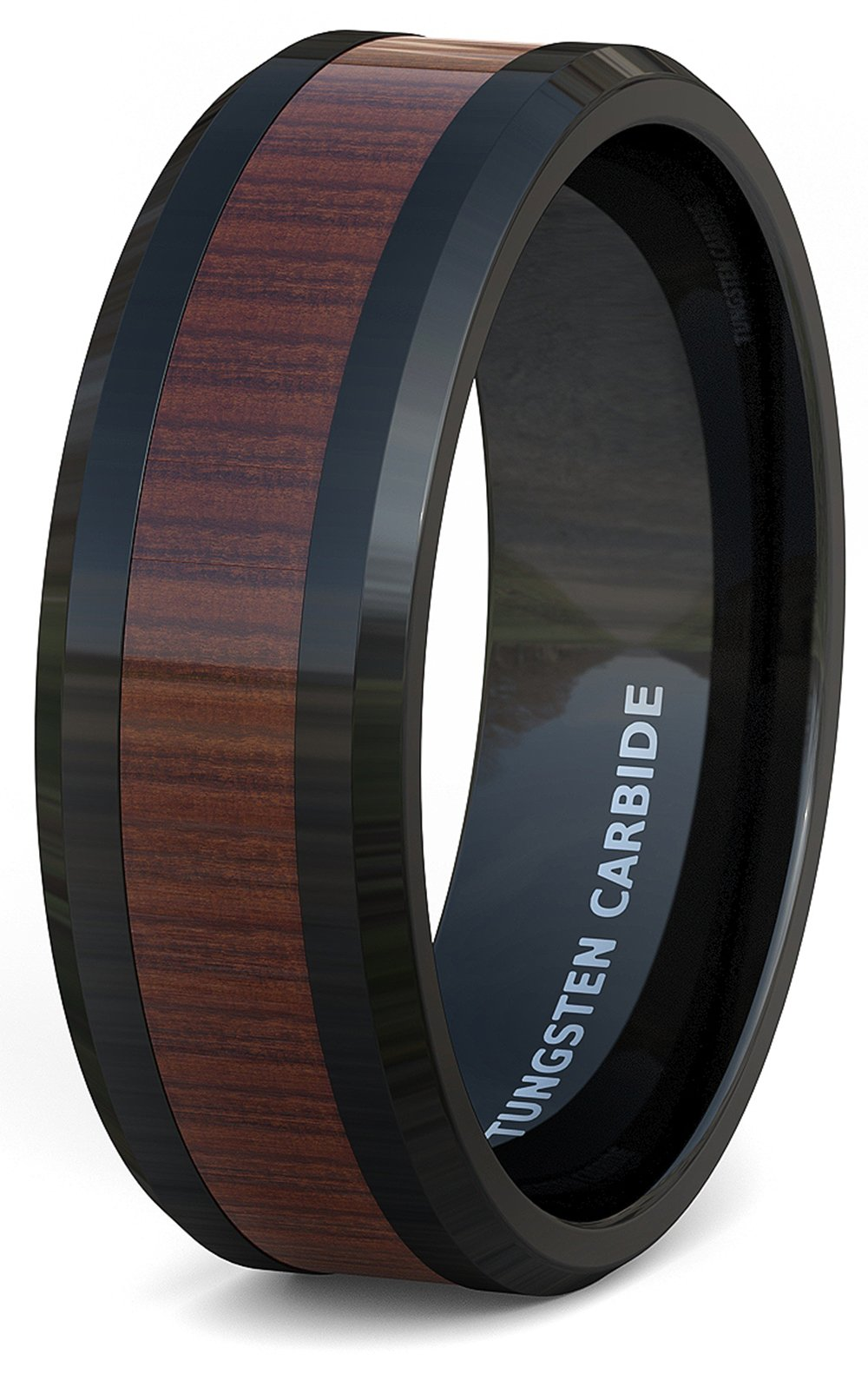 Duke Collections Mens Wedding Band Black Tungsten Ring Wood Pattern Inlay Beveled Edge Comfort Fit (8.5)