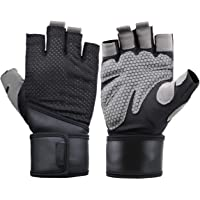 Weight Lifting Gloves, Gym Gloves Workout Gloves with Wrist Wrap Support, Fitness Exercise Gloves for Powerlifting Cross Training with Men & Women