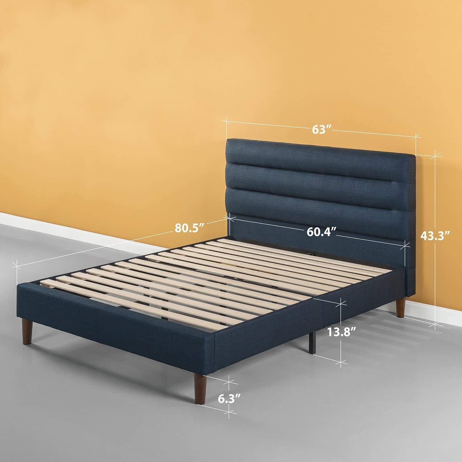 King Strong Wood Slat Support in Navy Zinus Upholstered Horizontally Cushioned Platform Bed