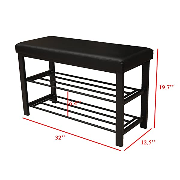 Finnhomy Entryway Shoe Rack with Cushioned Seat, 2 Shelves Storage Bench w/Faux Leather Top Bed Bench, Black