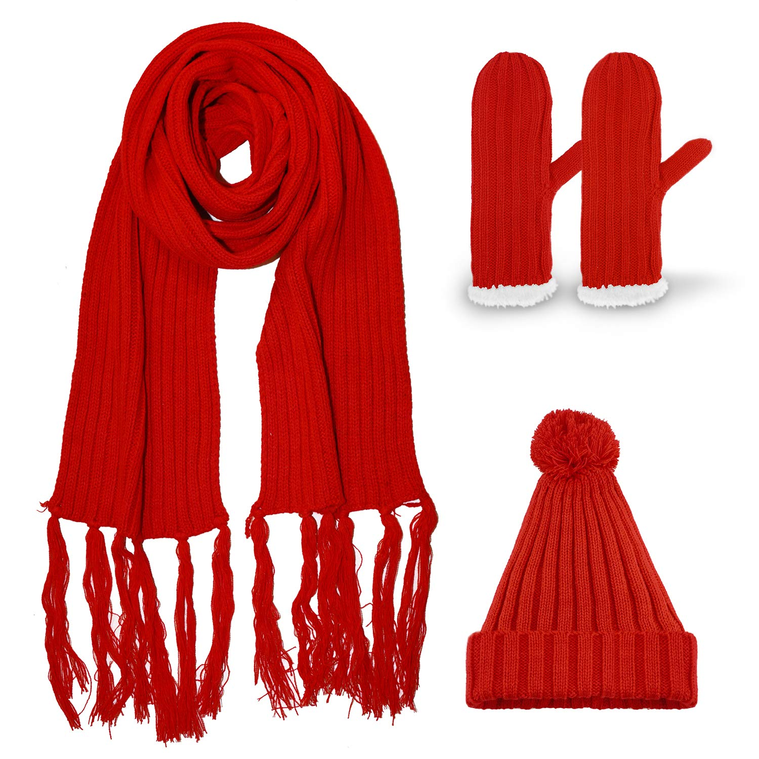 3-in-1, Set of Scarf, hat and Gloves, for Women and Girls, Split Cable Stitch Knitted, with Bobble (red Set 2) Gkmamrg