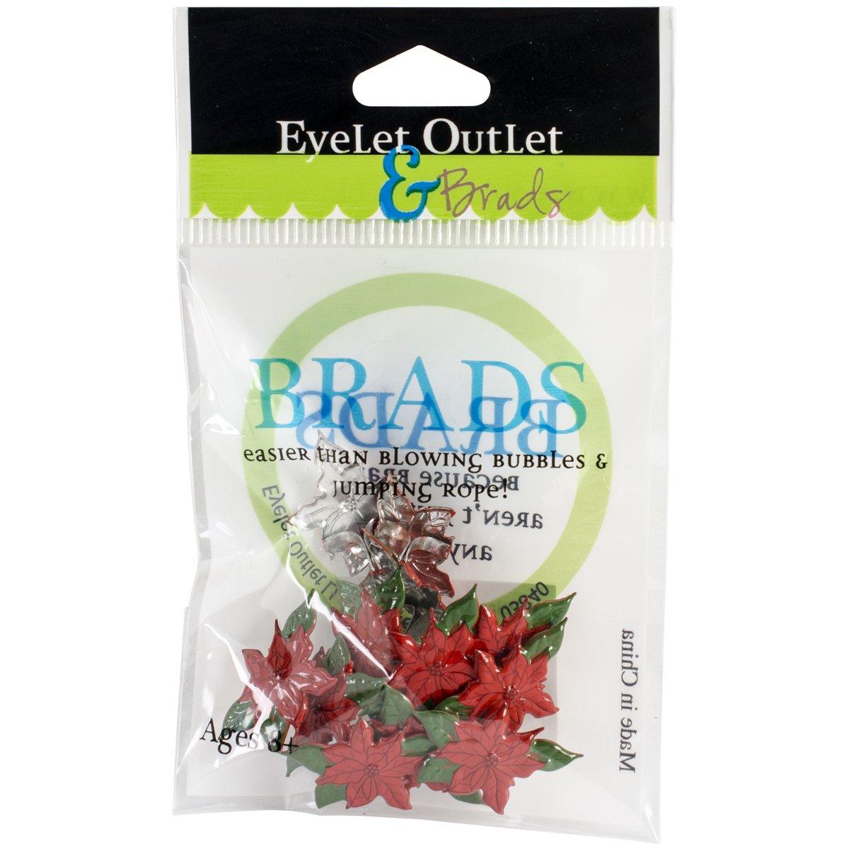 12 Pack EYELET OUTLET Poinsettia Shape Brads