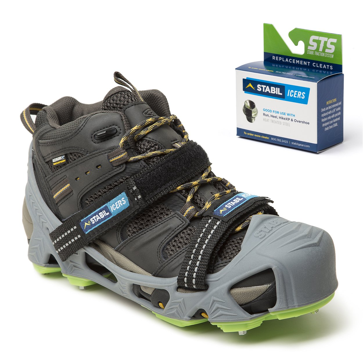 STABILicers HIKE XP, Made in USA, High Performance Snow and Ice Traction Cleats for Shoes and Boots, 25 Replacement Cleats Included, Gray/Green, Size XL