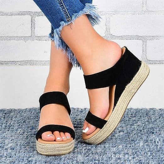 HIRIRI Womens Platform Wedge Sandals High Heel Slip on Open Toe Shoes Slides Espadrille Backless Slides Loafers