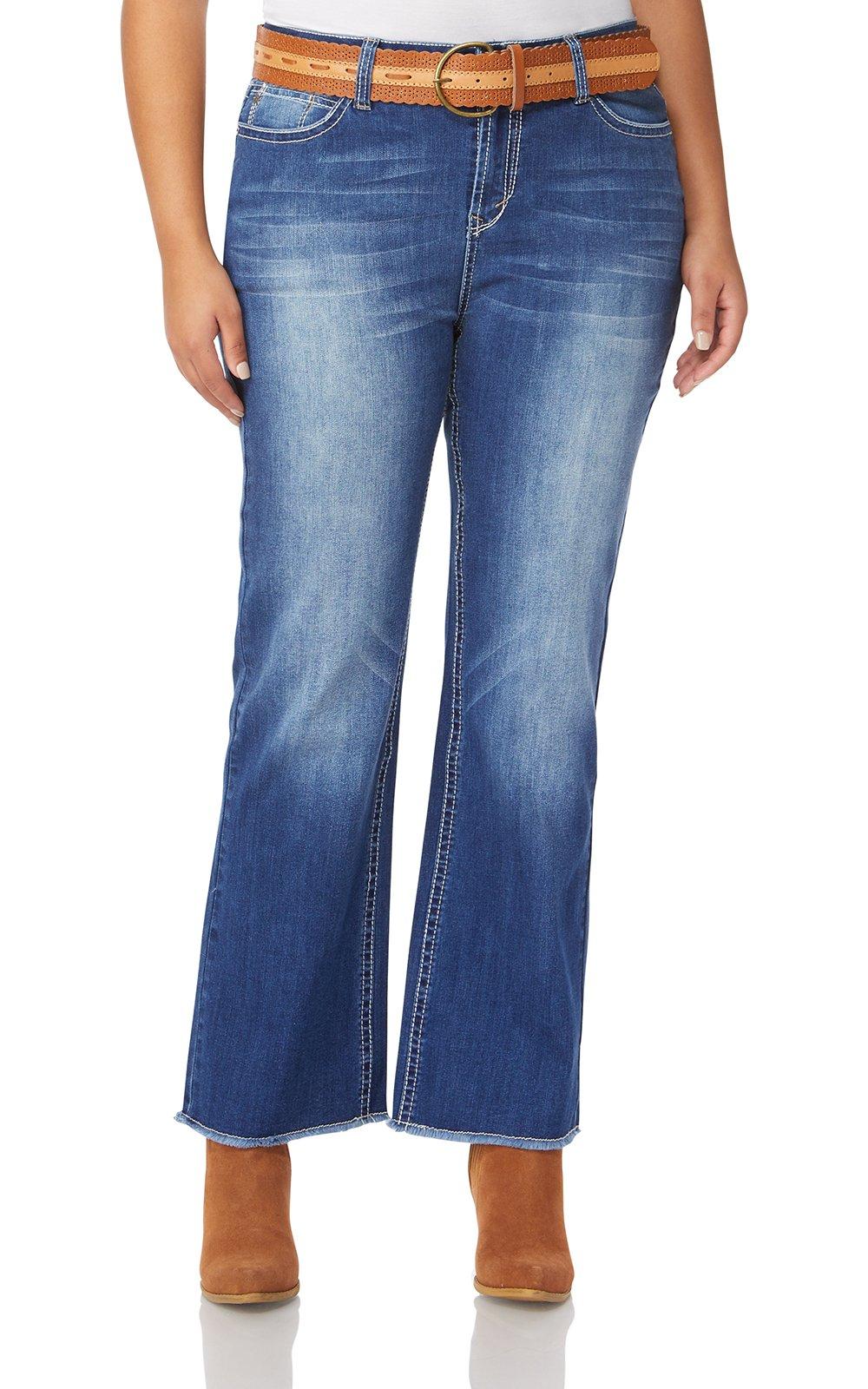 WallFlower Plus Size Belted Legendary Bootcut Jeans in Michelle, 20 Plus