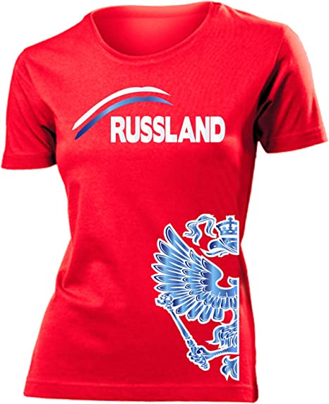 Damen T-Shirt Russland EM WM Fan Russia Adler