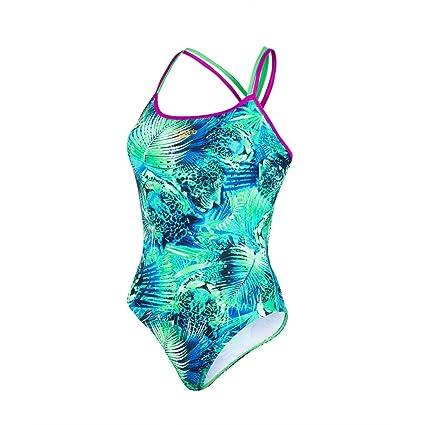 Speedo Alv Xbck Af Costume da Bagno, Fluo Green/Deep Peri/Aquarium, 26