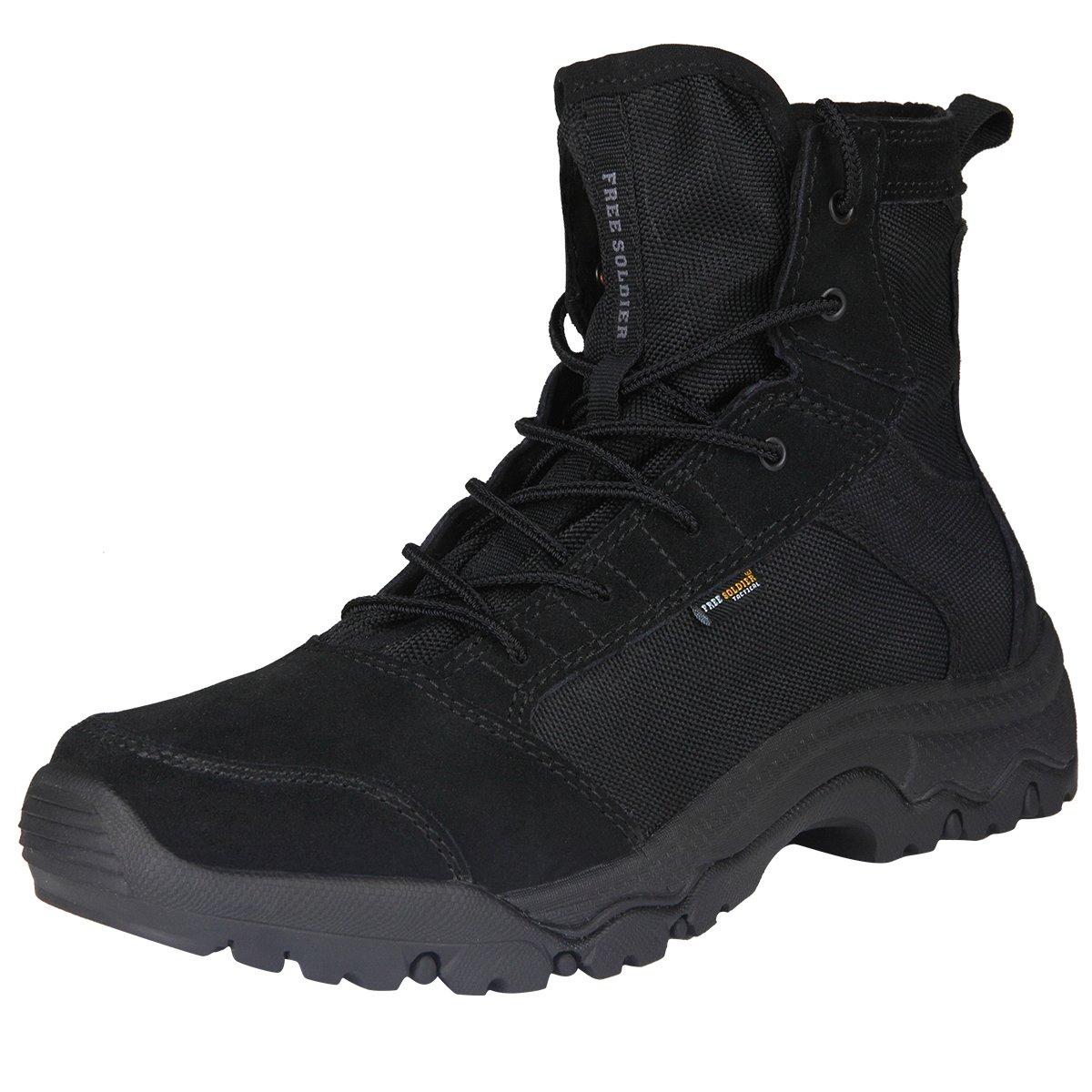 FREE SOLDIER Men's Lightweight Tactical Boots - Desert Tan(Black 11.5 US)
