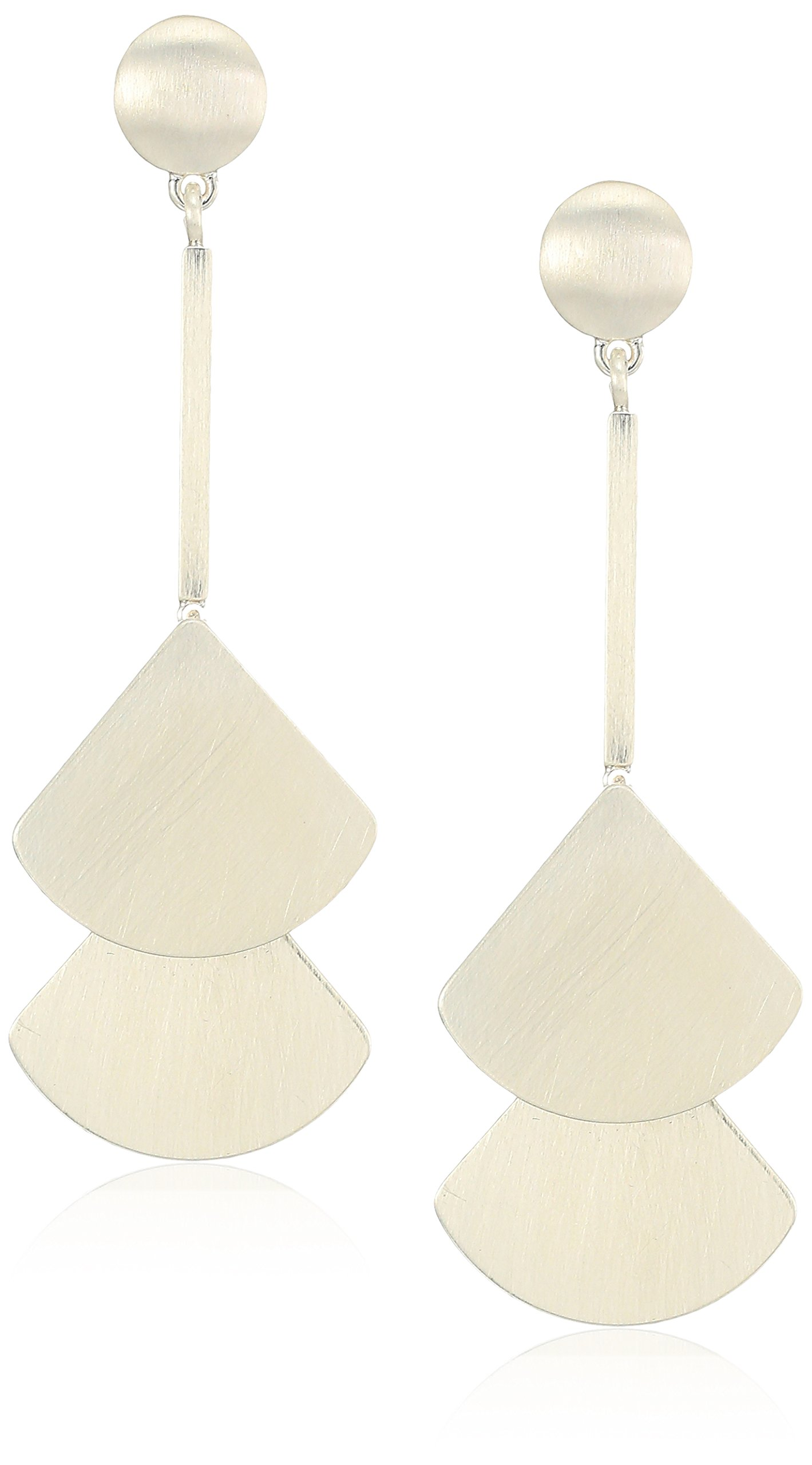Lucky Brand Womens's Silver Fan Drop Earrings