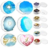 Resin Coaster Molds for Resin Casting, Silicone Molds for Epoxy Resin Glossy Geode Coaster Mold Heart Cup Mat with Gold…