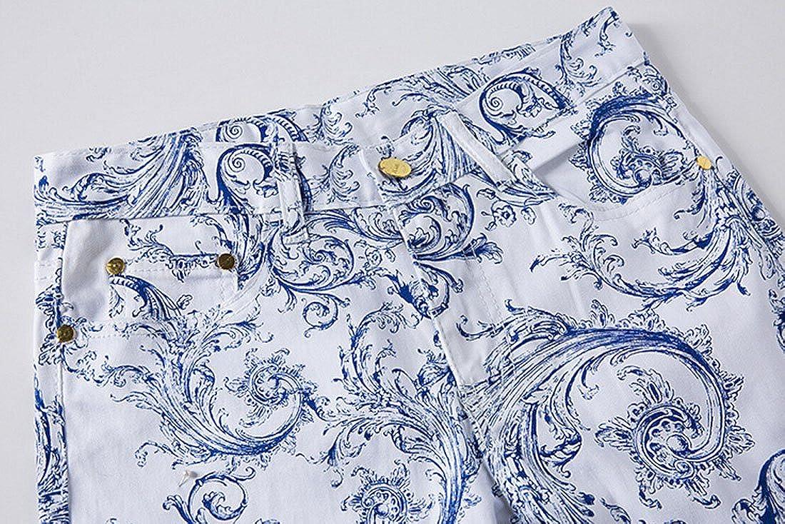 MR R Mens Stylish Floral Printed Slim Jeans
