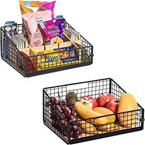 X-cosrack Food Packet and Snack Organizer, 2Pcs Metal Wire Snack Rack Holder, Food Packet Organizer Basket with Handle for Kitchen Office Cabinets Pantry Closets Garage