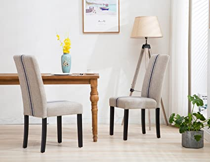 Delicieux Tufted Upholstered Stripe Dining Chair   Retro Formal Elegant Navy Blue  Double Stripe Dining Chairs With