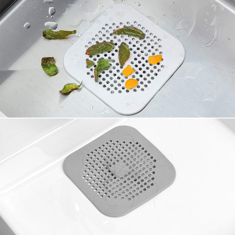 Grigio e Bianco KARAA Set di 4 Filtro Raccogli Capelli per Lavandino con Ventosa Protezioni per Scarico Coperchi di Scarico per Doccia per Cucina e Bagno