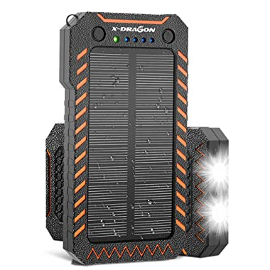 X-DRAGON Solar Charger 15000mAh Solar Power Bank Portable Shockproof Dual USB Solar Panel Battery Charger with Dual Super Bright LED Light for iPhone, Samsung Galaxy and More