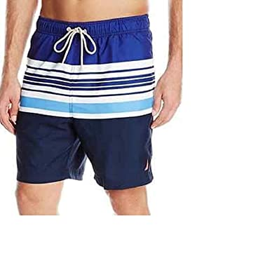 8c096d00f7 Nautica Men's Volley Swim Shorts Swimwear (Large, Blue Stripes (4PY))