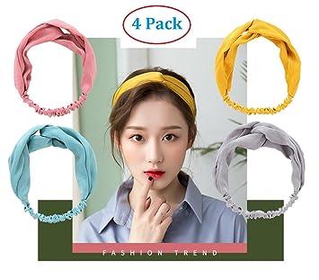 Amazon.com   Headbands for Women. 4 Pack Headband Cross Head Wrap - Super  Comfortable Hair Band - Perfect for Yoga or Fashion a31fae083c7