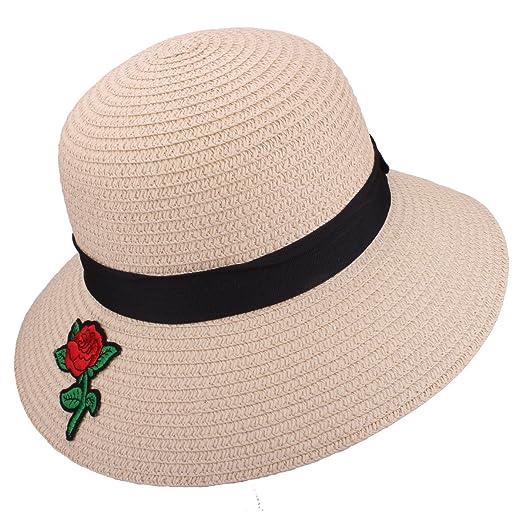a64474c71720ea Womens Straw Hat UPF 50+ Big Brim Foldable Summer Beach Floppy Sun Hat (8201