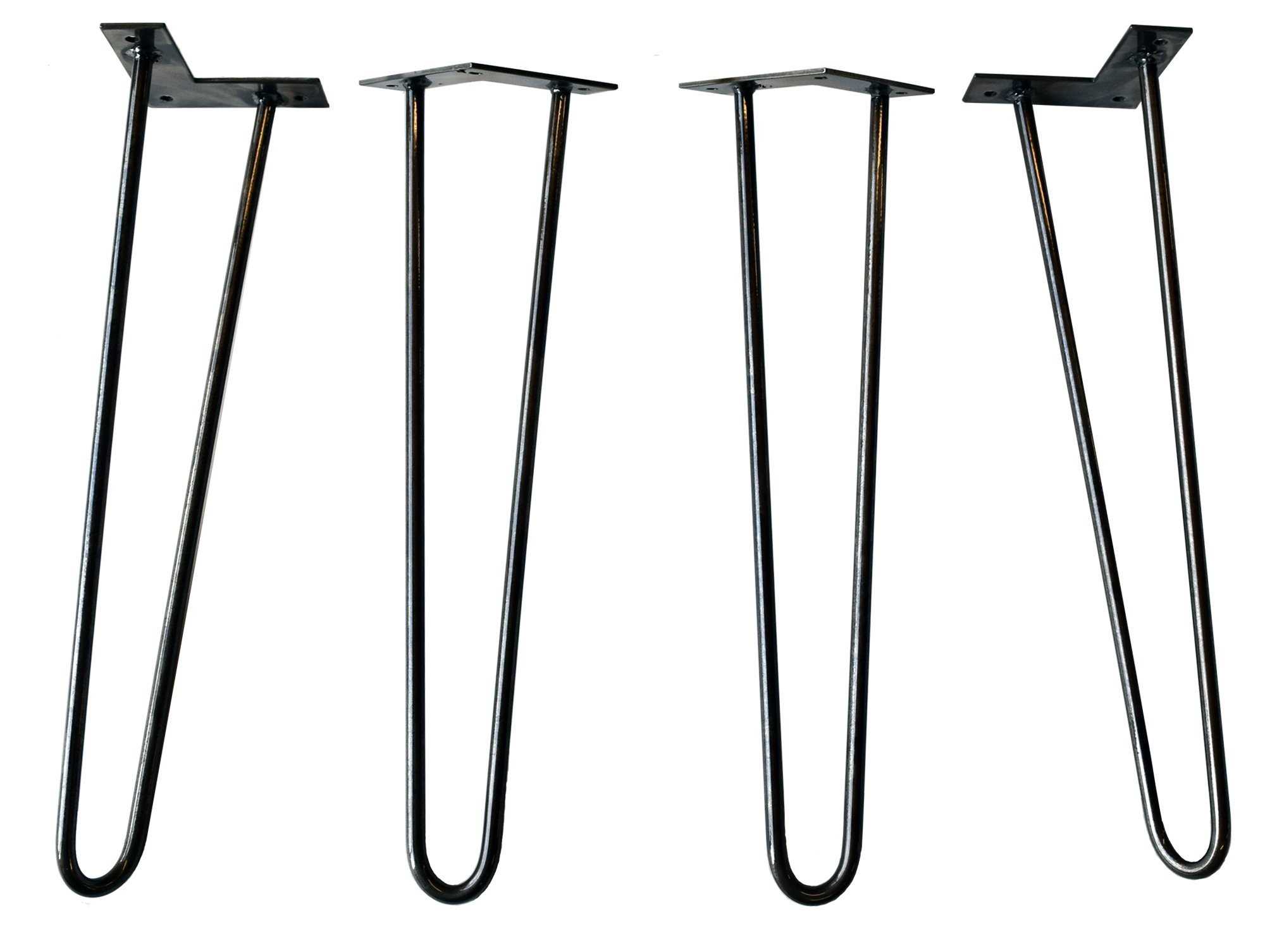 Original Hairpin Legs - Made in USA - Cast & Grain - Set of 4 (14 in, Clear Coat)