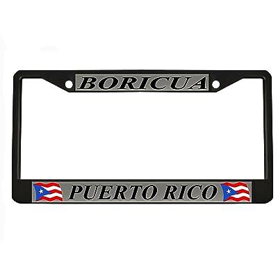 BORICUA PUERTO RICO black Metal Auto License Plate Frame Car Tag Holder: Automotive