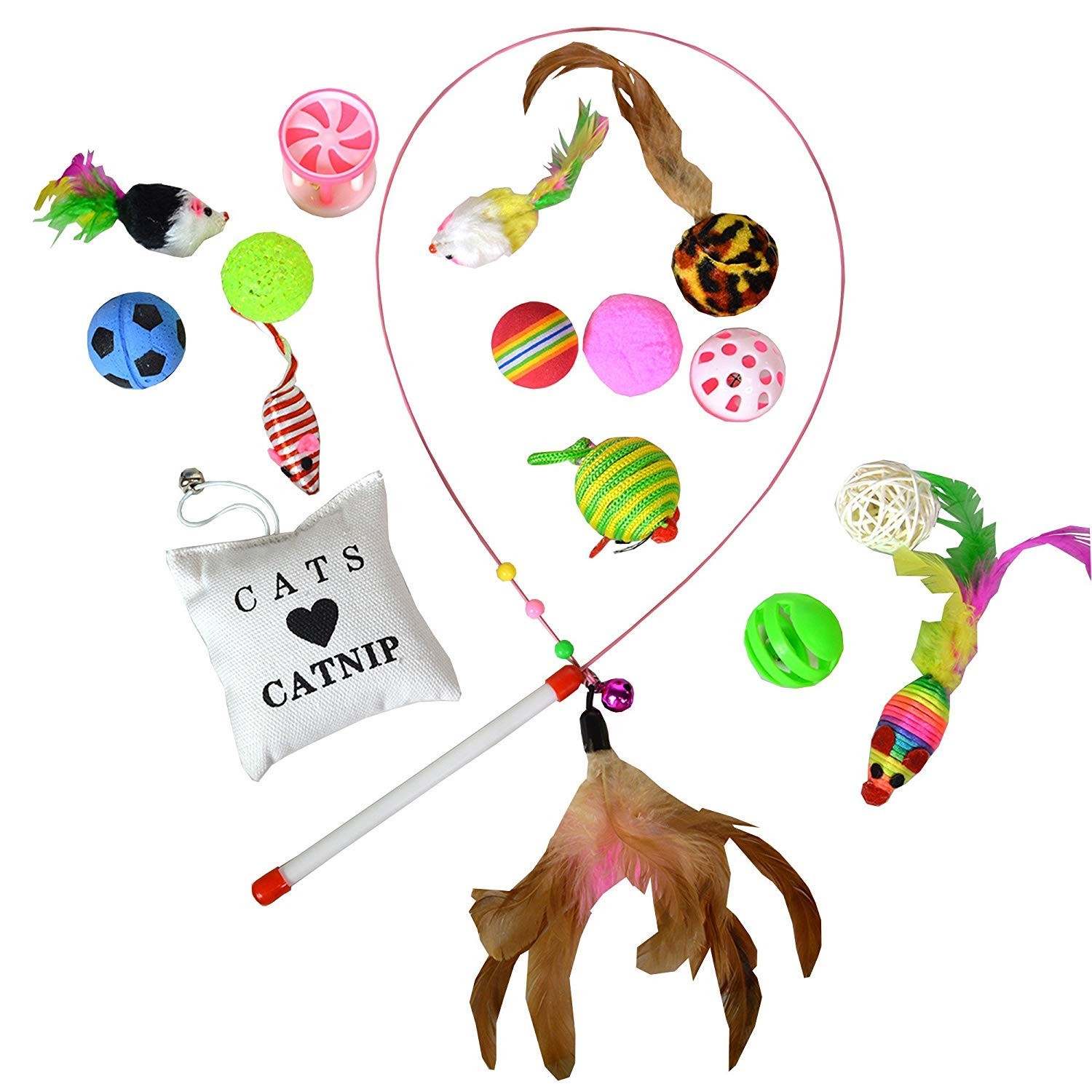 WXJHA Cat Toys Set,Cat Feather Teaser, Wand Interactive, Fluffy Mouse, Crinkle Balls - Best Gift for Cat