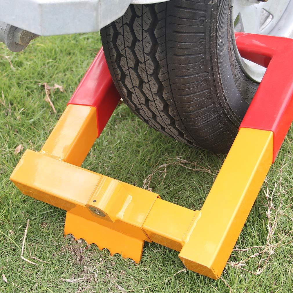 30,48cm Reifenschloss Diebstahlsicherung Stiefel Reifenklauen F/ür ATV Trailers Gelb//Rot mit 2 Schl/üsseln OKLEAD Anh/änger Radschlossklemme Reifenbreite MAX 12