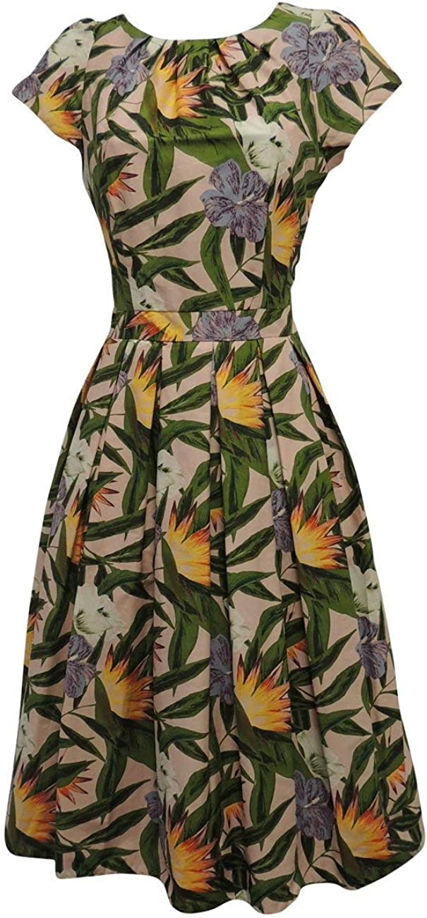 1940s Dress Styles New Pink Green Hawaiian WWII 1930s 40s VTG Retro Style Swing Tea Dress £28.99 AT vintagedancer.com