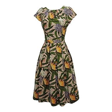 eee478251e928d New Pink Green Hawaiian WWII 1930's 40's VTG Retro Style Swing Tea Dress