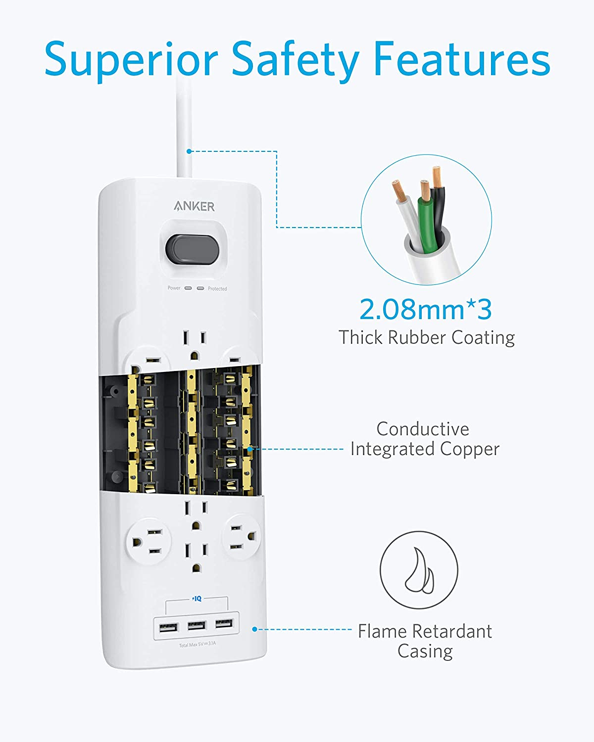 Power Strip Surge Protector Anker 12 Outlets  3 USB Ports with Flat Plug PowerPort Strip with 6ft