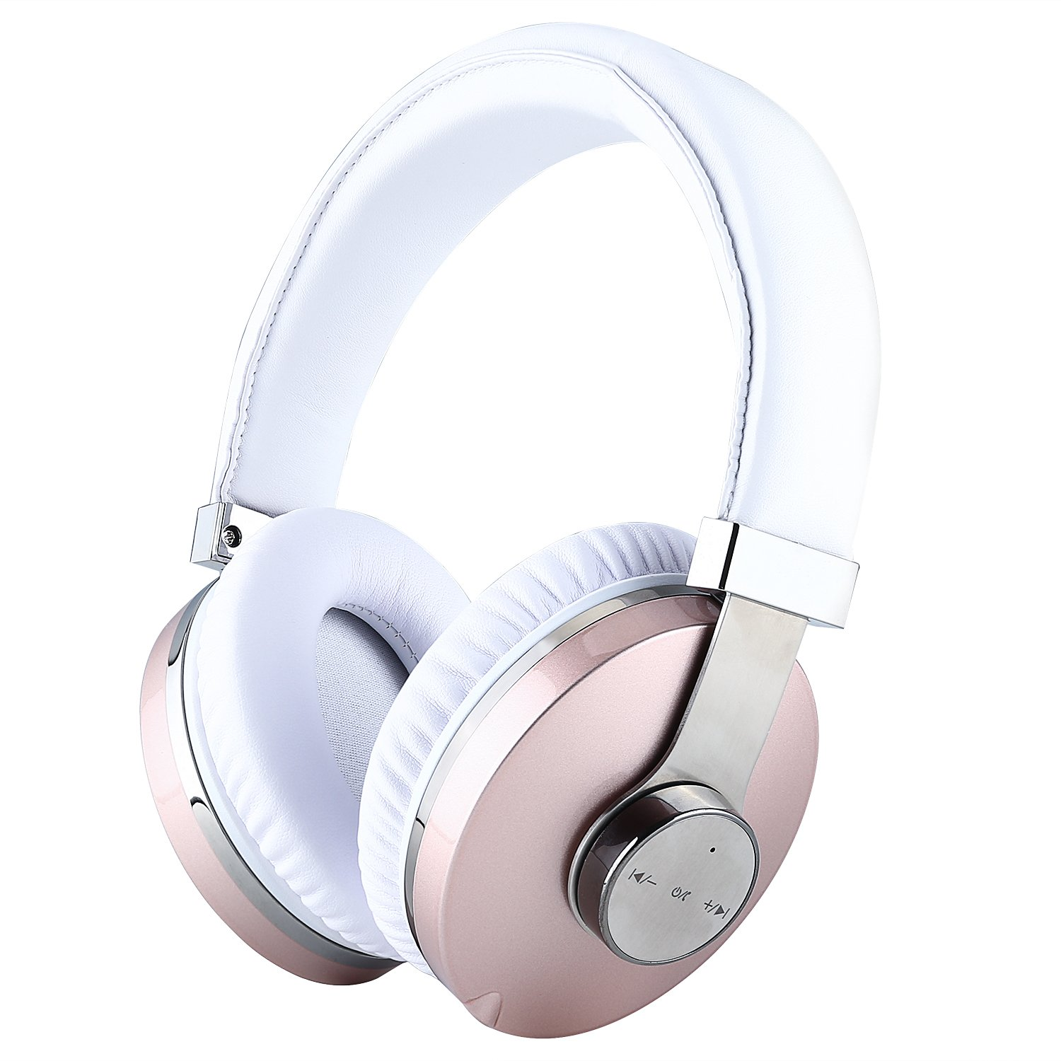 Bluetooth Headphones Over Ear, Mee'sport Music Wireless Headset with Microphone Hi-Fi Deep Bass Wireless Headsets Comfortable Protein Ear Cups 24 Hours Playtime for Travel TV Computer (Rose Gold)