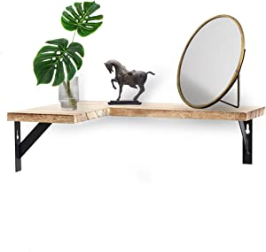 Halter Decorative Corner Wall Mount Shelf, Space-Saving Durable, Easy to Assemble and Install, for Home and Office Space (Paulownia Wood)
