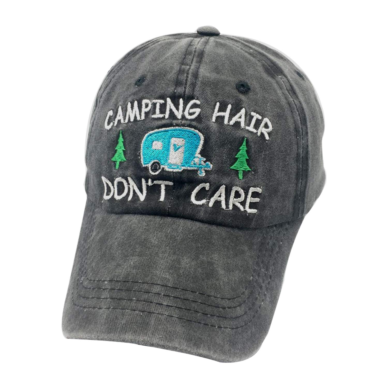 LAKE HAIR Distressed Dad Hat Embroidered Lake Hair Don/'t Care Cap Many Colors