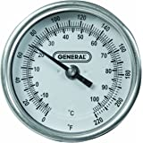 General Tools T300-36 Analog Soil Thermometer, Long Stem 36 Inch Probe, 0 to 220 degrees Fahrenheit (-18 to 104 degrees Celsius) Range, Ideal for Taking Ground and Soil Temperature for Composting, Gardening and Agricultural Applications