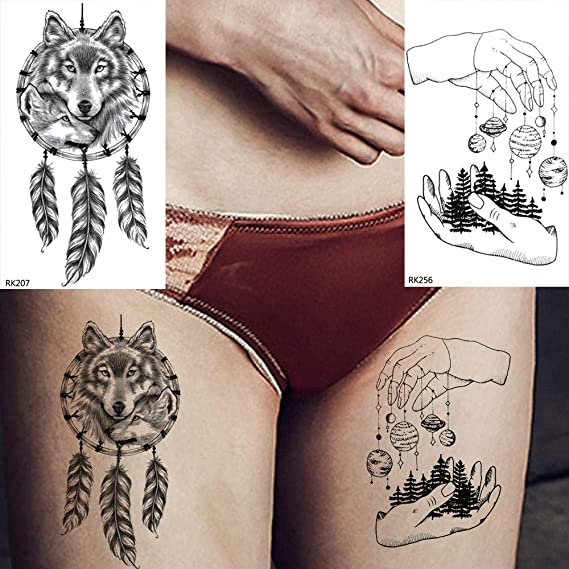 Tatuajes Temporales Adultos Dreamcather Planetas Lobo Atrapasueños ...