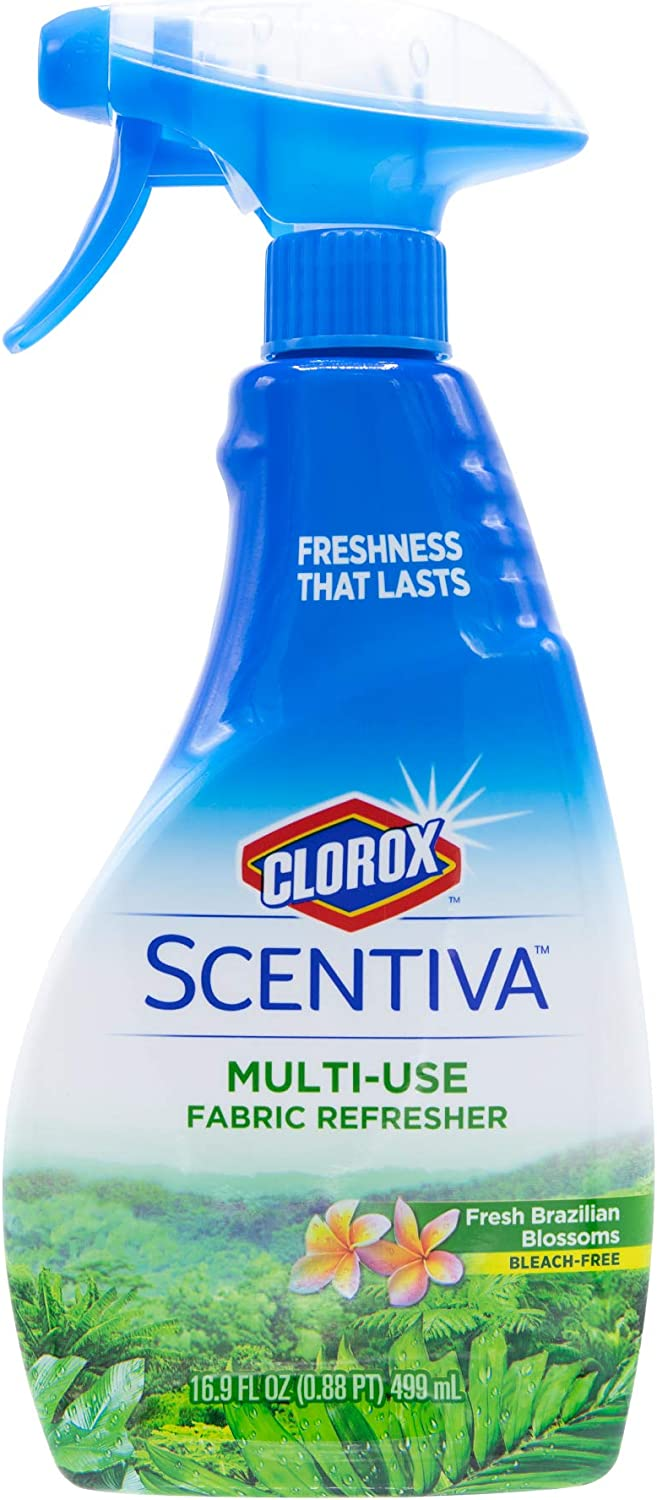 Clorox Scentiva Multi-Use Fabric Refresher | Fabric Freshener for Closets, Upholstery, Curtains, and Carpets | Fresh Brazilian Blossoms | 16.9 Ounces