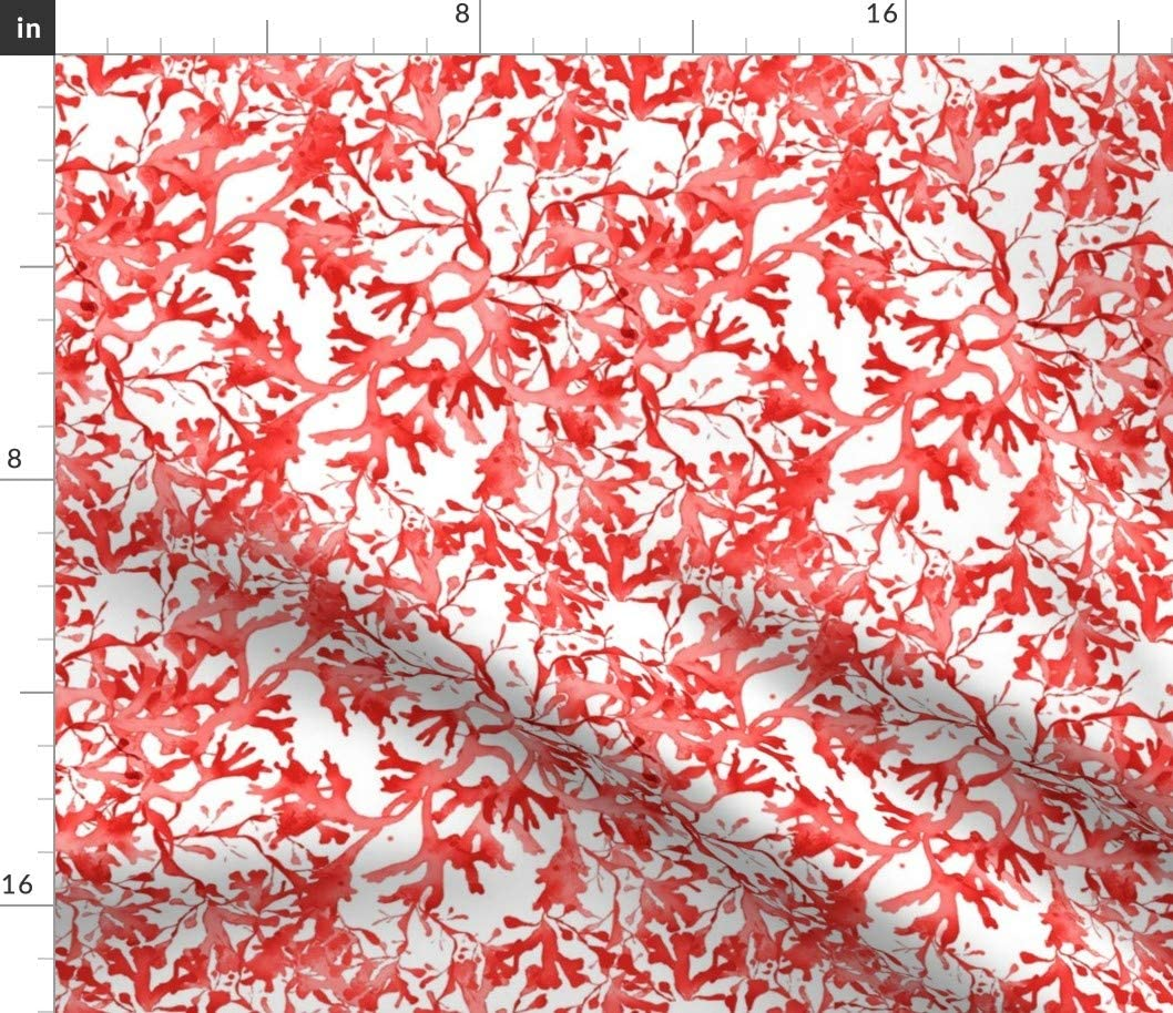 Spoonflower Fabric - Seaweed Coral Red Beach Reef Ocean Nautical House Botanical Printed on Upholstery Velvet Fabric by The Yard - Upholstery Home Decor Bottomweight Apparel