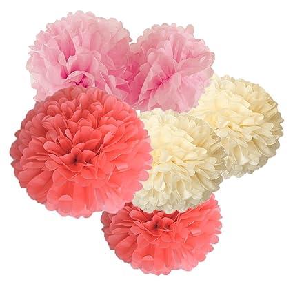 Amazon Hanging Tissue Paper Pom Pom 12pcs Coral Pink Cream